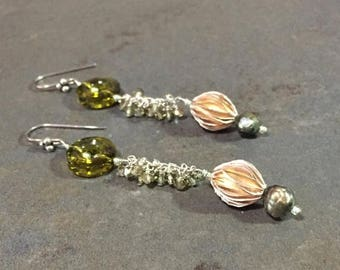 15% off Swarovski, sterling silver and pearl earrings, olive green