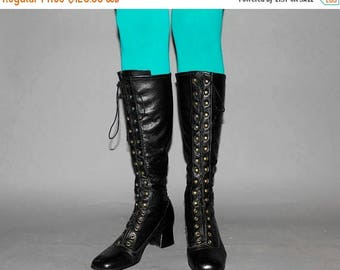 SALE Vintage 60s BLACK LEATHER Gogo Boots / Lace Up Mod Boots / Below the Knee / Love Witch Groovy Festival / Size 8 us, 38.5 eu, 6.5 aus, 5