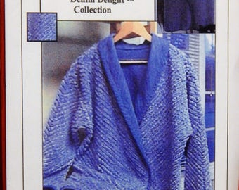 Reversible shawl collar chenille jacket or vest pattern #0985 from Casu Designs Denim Delight Collection   Uncut Sizes 4 through 22