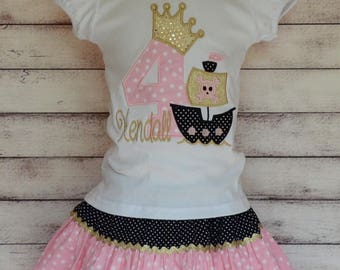 Personalized Birthday Princess Pirate Ship Applique Shirt or Onesie Girl Skirt Sold Separately