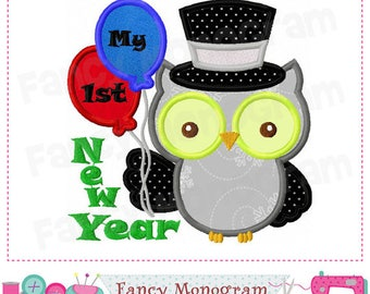 My First 1st New Year Owl 2018 Applique Shirt or Onesie Boy or Girl