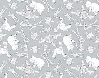 Disney Fabric Toy Story Fabric Character Outlines in Gray From Camelot 100% Cotton