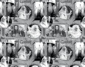 The Hobbit and Lord of the Rings Fabric Gandalf in Gray From Camelot 100% Cotton