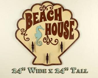 Beach Towel Rack Beach Bathroom Decor Beach Wall Art Ocean Wall Art Decor Beachy Bathroom Beachy Kitchen Decor Ocean Decor --READY TO SHIP--
