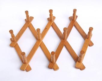 Vintage wooden coat rack, Vintage wall hanger, Vintage accordion coat rack, Country house, Kitchen decoration, Kitchen hooks, Farmhouse