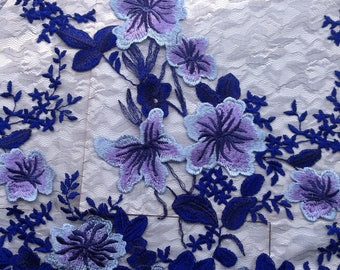 1 Yard Blue&Purple Lace Fabric,Spring Mesh Lace Dress,Floral Dress Lace,Wedding Bridal Dress,Flowers Embbroidered in Mesh