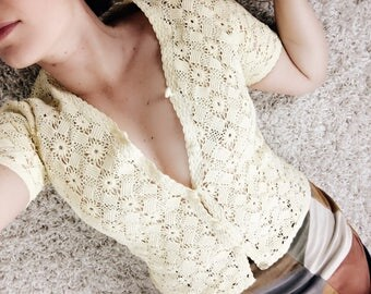 Vintage 60s 70s Yellow Crochet Button Up Top Cotton Daisy Boho Bohemian Style Sheer Blouse