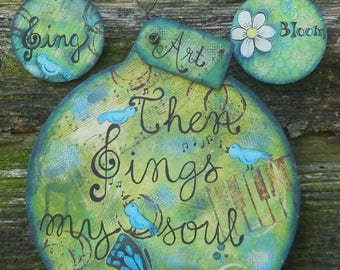 Epattern Then Sings My Soul Tole Painting Pattern DIY Ornament Christmas Wall Decor Mixed Media Texture Music Christian Gift Idea Bluebird