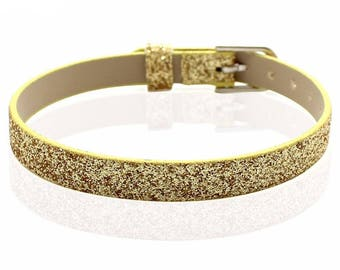 Bracelet faux leather sequin gold 22 cm