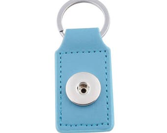 Keychain rectangle turquoise faux leather snap button