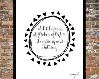 FOUND POEM, A Little Feast, Candlelight, Dinner, Romance, Love, Print, 8 x 10 instant download