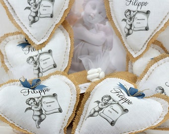 10 Personalized Favors-Heart 17 x 18 cm for communion and confirmation