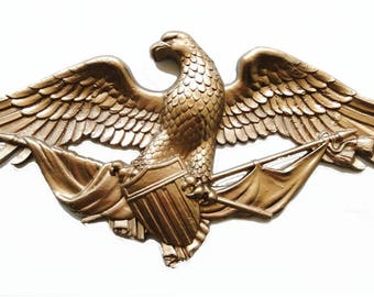 Big Gold American Eagle Plaque Door Top Decor USA Pride Winged Nice Old Style