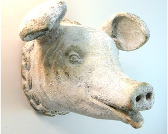 Vintage Replica of PIG HEAD Wall Bust Aged Pork French Country Life Size