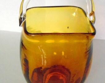 Amber glass basket,  amber  glass, applied clear glass handle, vintage glass pitcher, vintage art glass , elegant glass, glass basket