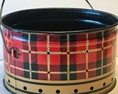 Reserved For Wendy Vintage Plaid Metal Bucket Wood Handle Tartan Red and Black Plaid Rivited wire and wood handle. Standard Can Company.