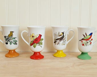 Vintage Footed Bird Mugs Pedestal Mugs Bird Cups Porcelain Mugs Bird Design Mug Set Bird Coffee Mug Footed Mugs Bird Decor Made In Japan