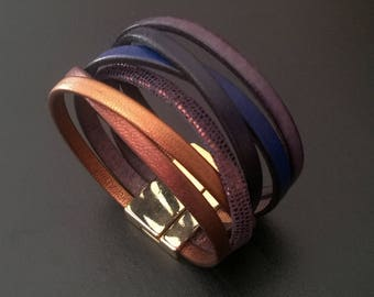 Bronze blues, multi-links, magnetic clasp Leather Bracelet