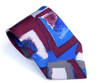 Vintage FORSYTH Tie,Abstract Print Polyester Tie,Made in Canada,Blue and Burgundy Necktie,Pop Art Tie,Unisex Tie,Ligntweight Washable Tie