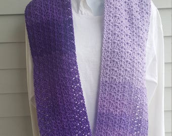 jazzy striping scarf, striping scarf, crochet scarf. (violet ombre)