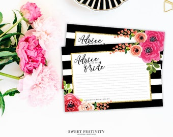 Bridal Shower Advice Cards, Advice for the Bride, Black and White Striped Bridal Shower, Pink Floral Bridal Shower, Printable Advice Cards