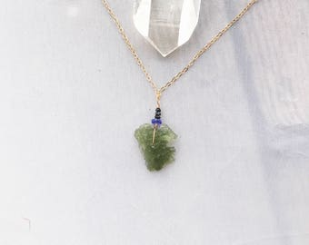 High Vibrations - Moldavite Tanzanite black diamond raw crystal necklace