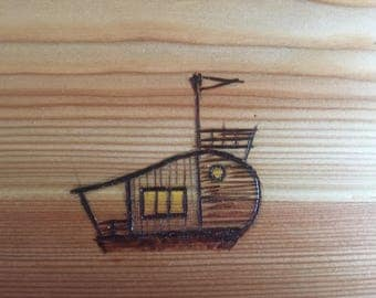 Woodburned Houseboat Sketch on Wood Plate