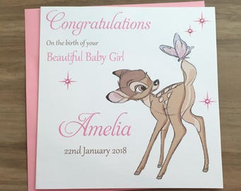 Handmade Personalised New Baby Girl Bambi Pink
