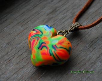 Heart Pendant Necklace UV Blacklight Reactive Unisex with glow in dark accents Love Unique