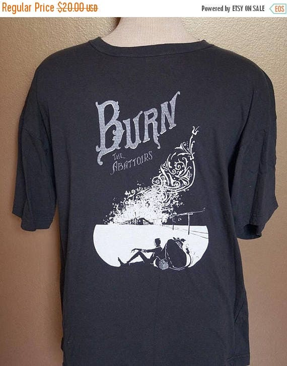 "ON SALE 2XL ""Burn the Abattoirs"" Tee, White Ink on Black"