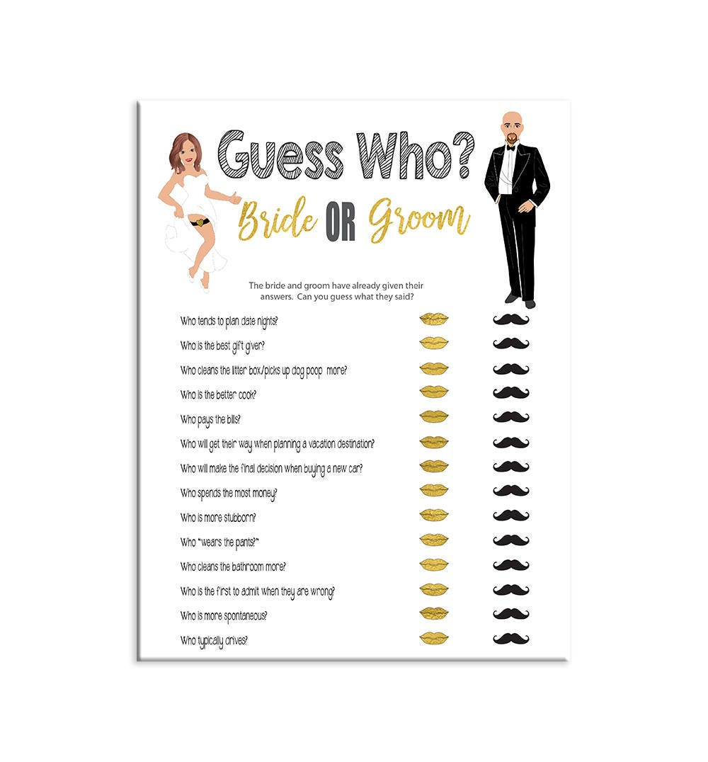 Guess Who Game Bridal Shower Game Bride And Groom Black