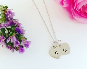 Dainty stamped initial necklace, initial heart necklace
