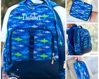 Back to school items / Backpack - lunch bag - pencil case set / Little boys back to school 3pc set / Personalized shark themed back 2 school