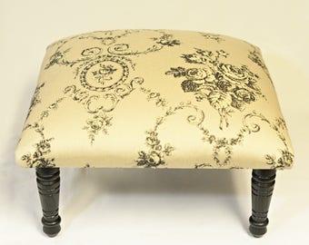Corona Decor Co. Woven Bouquet Toile Black Footstool