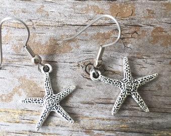 Starfish Earrings/ Starfish Charm Earrings/ Starfish Dangle Earrings/ Ocean Jewelry/ Sealife Earrings/ Beach Earrings