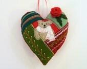 Christmas Patchwork Ornament, Crazy Quilt, Felt Heart Ornament, Teddy Bear Ornament, Doorknob Pillow, Doorknob Hanger, Felt Bear Ornament