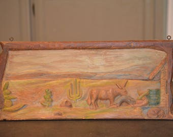 Vintage Mexican Bas Relief, Wood Carved Wall Hanging