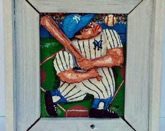 Baseball Player:  Original 3D Mixed Media  Art Painting Gift Reclaimed Wood Frame
