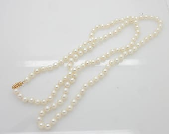 """Vintage 14K Yellow Gold 6mm Natural Pearl Necklace; Gold Filigree Clasp-33""""; sku # 3893"""