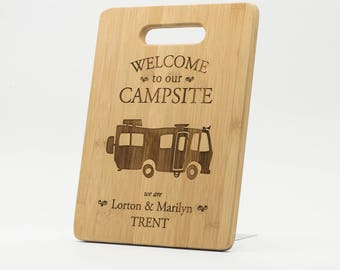 """Personalized RV Camper Cutting Board 9x6"""" - Welcome to our Campsite Bamboo Custom Engraved Cutting Board - Camper Welcome Decor"""