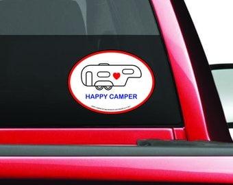 Happy Camper Decal - Fifth Wheel Camper Decal - Camping Trailer Bumper Sticker - 5th Wheel Camper Decal - Trailer - Camper Sticker