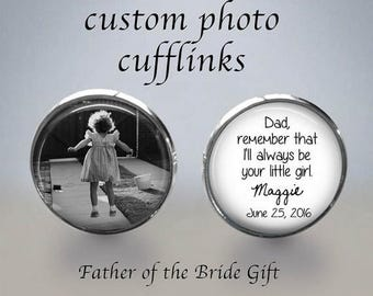 FATHER of the BRIDE - Father of the Bride Cufflinks - Photo Cuff Links - Cuff Links - Father of the bride gift - Wedding Cufflinks