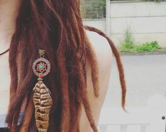 Jewelry for Dreadlocks Dreamcatcher / hippie dream catcher Dread bead / ethnic / jewelry for real feather hair / Dread joke