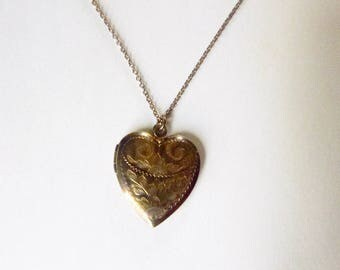 Retro to Mid-Century engraved heart shaped locket on chain