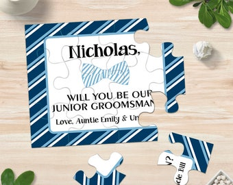 Blue Bow Tie Will You Be My Junior Groomsman Puzzle, Be My Ring Bearer, Puzzle Proposal, Ring Security Gift, Ask Ringbearer Cards Invitation