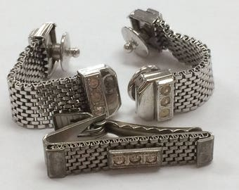 Vintage 50's Silver Tone Cuff Links and Tie Tack Set!