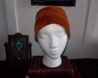 Vintage Velour Turban Pumpkin Color Fall Hat by Betmar  1950s