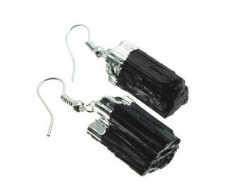 ON SALE Black Tourmaline Silver Earring