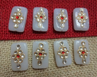 Rectangular Glass Beads with Indian Kundan work, Jewelry Supplies, Handmade Glass Buttons - set of 6 pcs Milky White