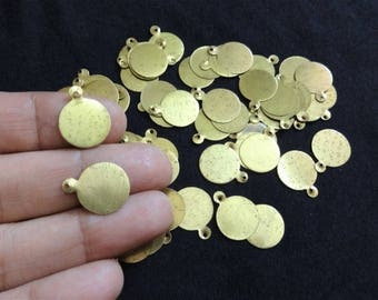 14 MM Brass Coins - Coin Charms, Plain Coins, Indian Brass Charms, Antique Gold Brass Charms, Brass Findings - 100 pcs
